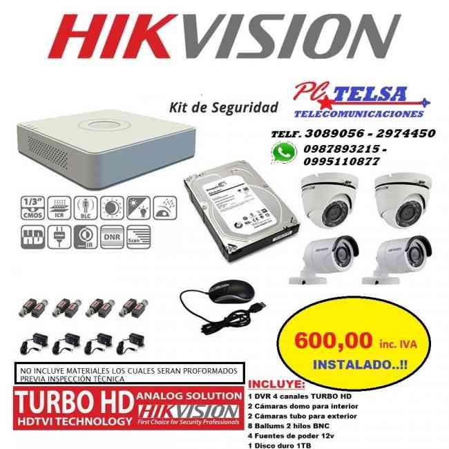 CÁMARAS TURBO HD X4 INSTALADO $600,00 INC.IVA