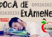 época de exámenes, clases de química, matemáticas y física