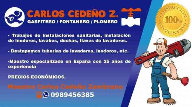 GASFITERO/PLOMERO 0989456385 GUAYAQUIL