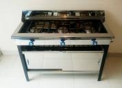 Cocina industrial en acero inoxidable de 3 quemadores con mueble