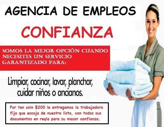 AGENCIA DE EMPLEOS  CONFIANZA EMPLEADAS DOMESTICAS