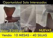 Nuevas y lujosas sillas y mesas