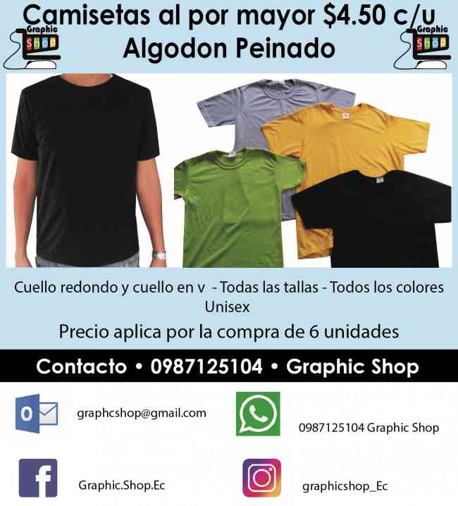 Camisetas por mayor toda talla todo color