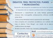 AsesorÍa de tesis, proyectos, ensayos y artÍculos cientÍficos