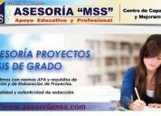 ElaboraciÓn de tesis de grado y post grado a nivel nacional
