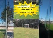 Instalacion de mallas de nylon en canchas de fÚtbol