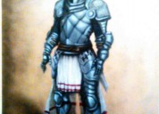 Imponente cuadro caballero medieval al Óleo y acrÍlico