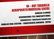 In - out tababela aeropuerto mariscal sucre