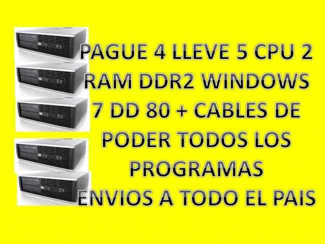 LOTE DE 5 CPU DDR2/4 SATA/ 2 GIGAS DE RAM WINDOWS 7