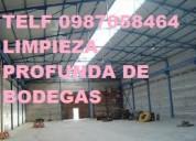 Telef 0996818473 limpieza de galpones bodegas furgones con certificado