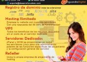 Registro de dominio hosting ilimitado vps servidores dedicados reseller