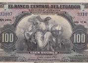 Compro billetes y monedas antiguos de ecuador - colecciones - pago precios internacionales .