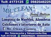 Limpieza y desinfeccion de muebles en cuenca