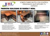 Fabricación de mesas en madera y metal