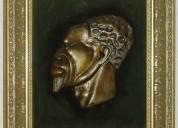 Mascará de bronce del congo en africa
