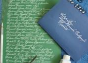 Caligrafias. invitaciones. diplomas, matrimonios.