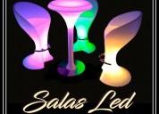 Sillas y mesas altas de led de alquiler