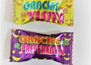 Caramelos con frases de agradecimiento