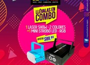 Combo lÁser show - 2 colores + mini strobo led rgb