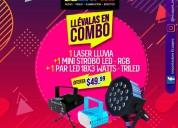 Laser lluvia + mini strobo led + par led-rgb