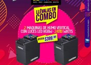 2 maquinas de humo vertical con luces led-dmx