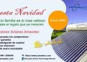 Navidad con  colectores solares para calentamiento