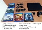 Play station 4 1tb + 5 juegos físicos