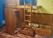 Litera de madera lacada con closet y cajones