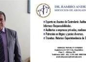 Servicios de abogado y auditor
