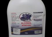 Alcohol y gel antibacterial al 70%, reg. san.