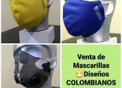 Venta de mascarillas, diseños colombianos