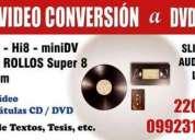 Transferencia de audio y video a formato digital dvd etc