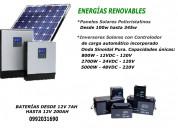 Paneles solares - inversor solar - baterias agm-vr
