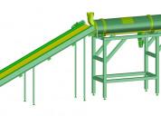 Línea de secado con horno rotativo y silo.