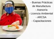CapacitaciÓn y asesorÍa en procedimientos en normas de alimentos. trabajo garantizado.