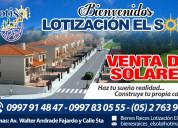 Venta de solares - terrenos para vivienda